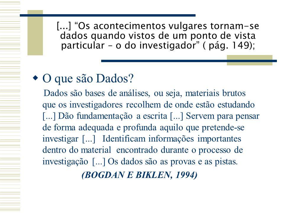 [...] Os acontecimentos vulgares tornam-se dados quando vistos de um ponto de vista particular – o do investigador ( pág. 149);